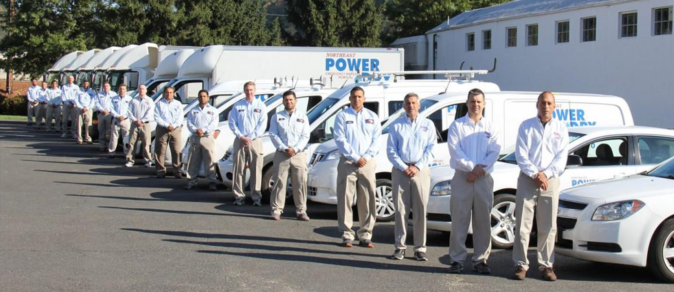 Northeast Power Dry employees and vehicles lineup