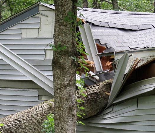 Wind damaged house